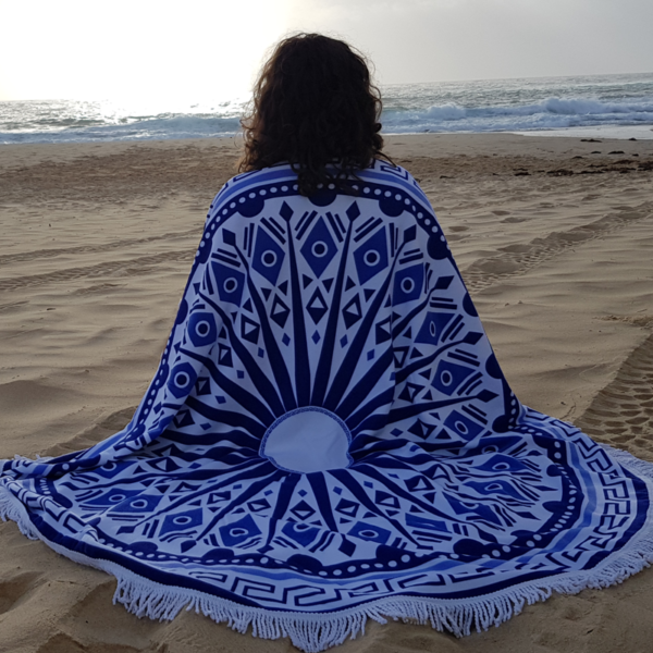 Blue Mandala Round Beach Towel