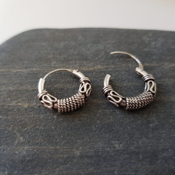 Silver Balinese Style Hoop Earrings