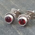 925 Silver garnet Stud Earrings