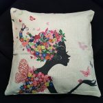 Cute Cushion Cover, Girl with dress and hair made from Flowers (3)