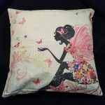 Cute Cushion Cover, Girl with pink fairy wings (3)