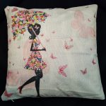 e Cushion Cover, Girl with Umbrella made from Flowers (3)