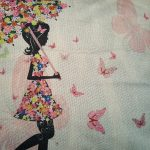 e Cushion Cover, Girl with Umbrella made from Flowers (2)