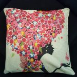 Cute Cushion Cover, Girl with heart shaped hair made from Flowers (3)