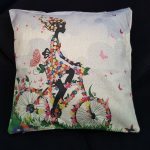 Cute Cushion Cover, Girl with Bike made from Flowers (3)