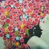 Cute Cushion Cover, Girl with heart shaped hair made from Flowers (2)