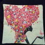 Cute Cushion Cover, Girl with heart shaped hair made from Flowers (1)