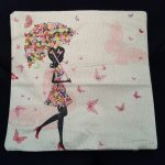 e Cushion Cover, Girl with Umbrella made from Flowers (1)