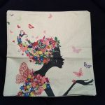 Cute Cushion Cover, Girl with dress and hair made from Flowers (1)