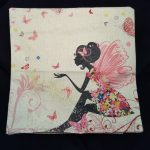 Cute Cushion Cover, Girl with pink fairy wings (1)