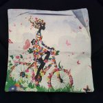 Cute Cushion Cover, Girl with Bike made from Flowers (1)