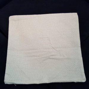 Reverse side of linen look cushion