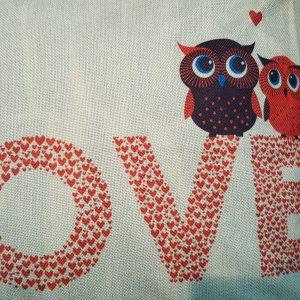Cushion Pillow Design Owl Love 2